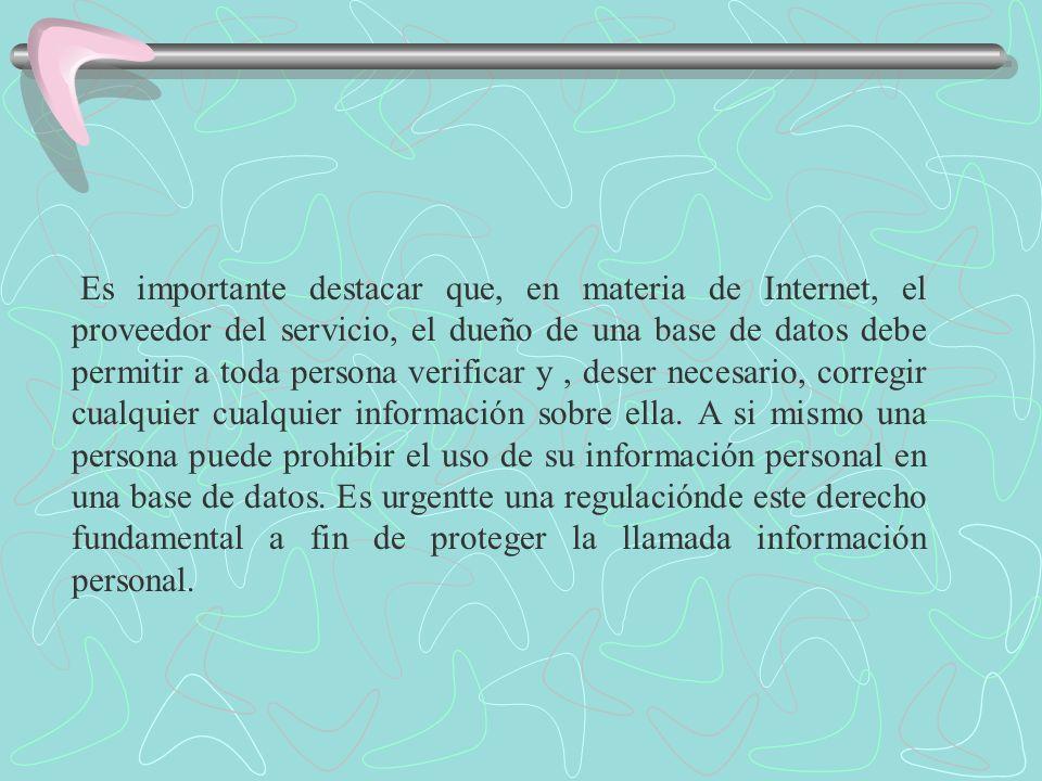 Es importante destacar que, en materia de Internet, el proveedor del servicio, el dueño de una base de datos debe permitir a toda persona verificar y,