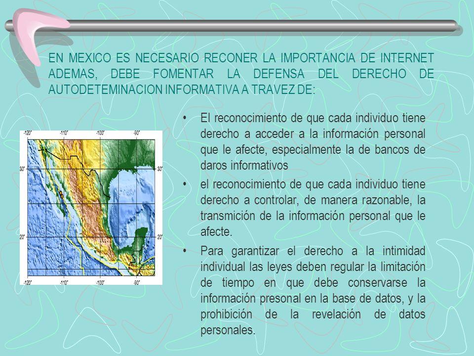 EN MEXICO ES NECESARIO RECONER LA IMPORTANCIA DE INTERNET ADEMAS, DEBE FOMENTAR LA DEFENSA DEL DERECHO DE AUTODETEMINACION INFORMATIVA A TRAVEZ DE: El