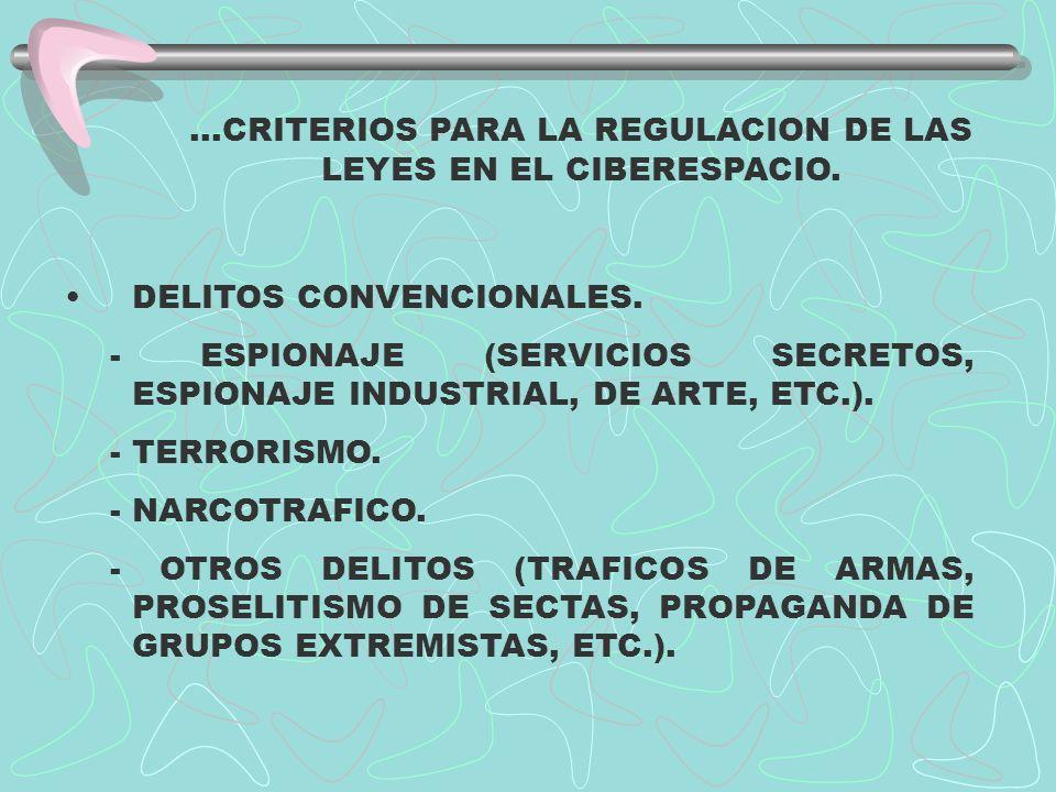 ...CRITERIOS PARA LA REGULACION DE LAS LEYES EN EL CIBERESPACIO. DELITOS CONVENCIONALES. - ESPIONAJE (SERVICIOS SECRETOS, ESPIONAJE INDUSTRIAL, DE ART