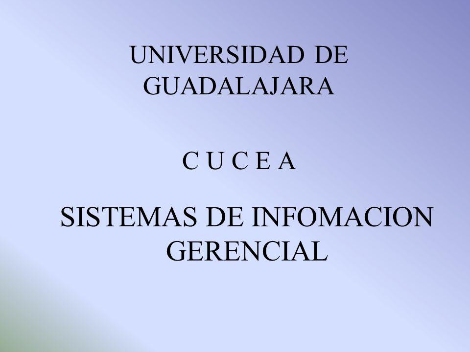 SISTEMAS DE INFOMACION GERENCIAL UNIVERSIDAD DE GUADALAJARA C U C E A