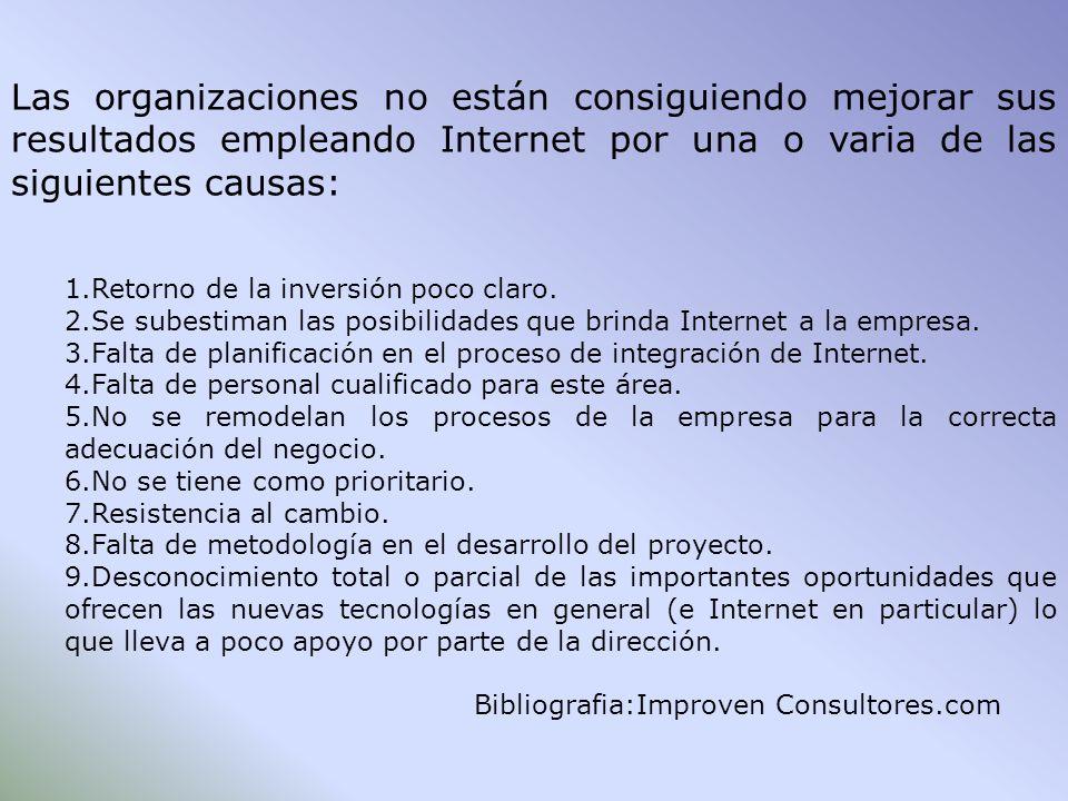 Las organizaciones no están consiguiendo mejorar sus resultados empleando Internet por una o varia de las siguientes causas: 1.Retorno de la inversión