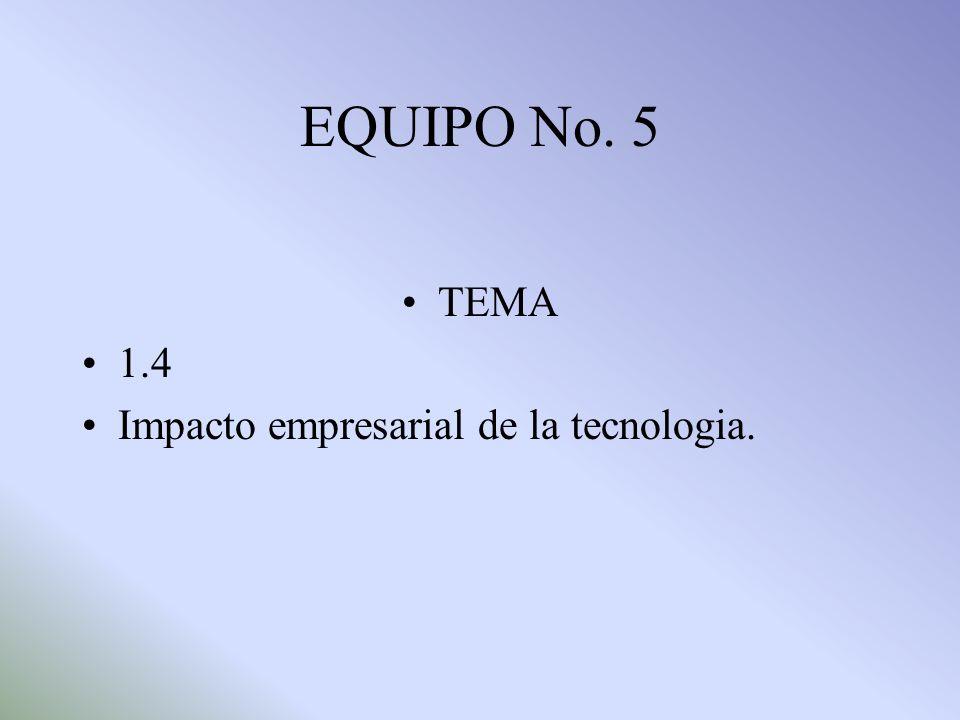 EQUIPO No. 5 TEMA 1.4 Impacto empresarial de la tecnologia.