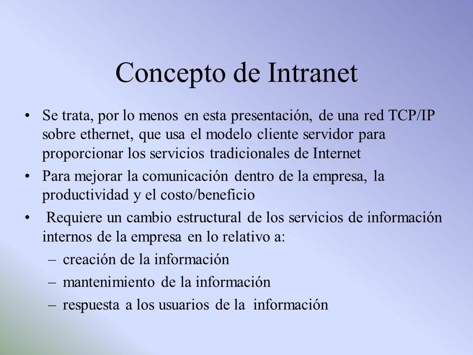 Concepto de Intranet Se trata, por lo menos en esta presentación, de una red TCP/IP sobre ethernet, que usa el modelo cliente servidor para proporcion