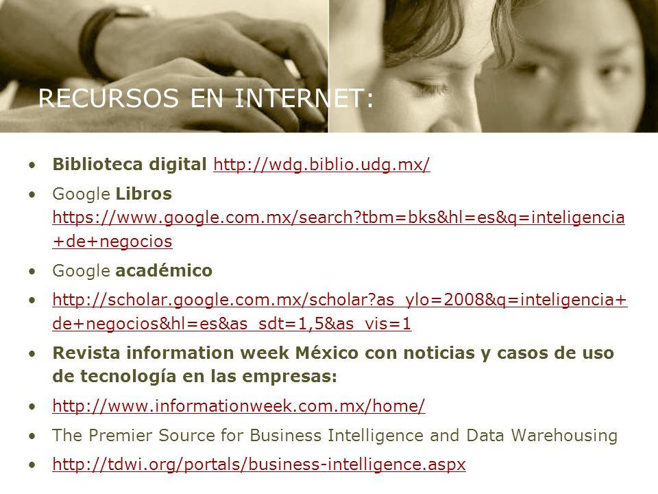 RECURSOS EN INTERNET: Biblioteca digital http://wdg.biblio.udg.mx/http://wdg.biblio.udg.mx/ Google Libros https://www.google.com.mx/search?tbm=bks&hl=