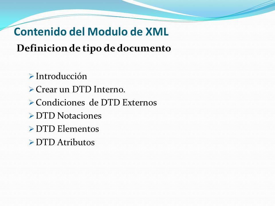 Contenido del Modulo de XML Espacios de Nombre XML Introducción Concepto Reglas para los atributos y espacio de nombre Procesamiento del Espacio de Nombre Ventajas Desventajas