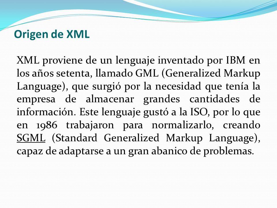 Conceptos Básico de XML XML XML, siglas en inglés de eXtensible Markup Language (lenguaje de marcas extensible), es un metalenguaje extensible de etiquetas desarrollado por el World Wide Web Consortium (W3C).