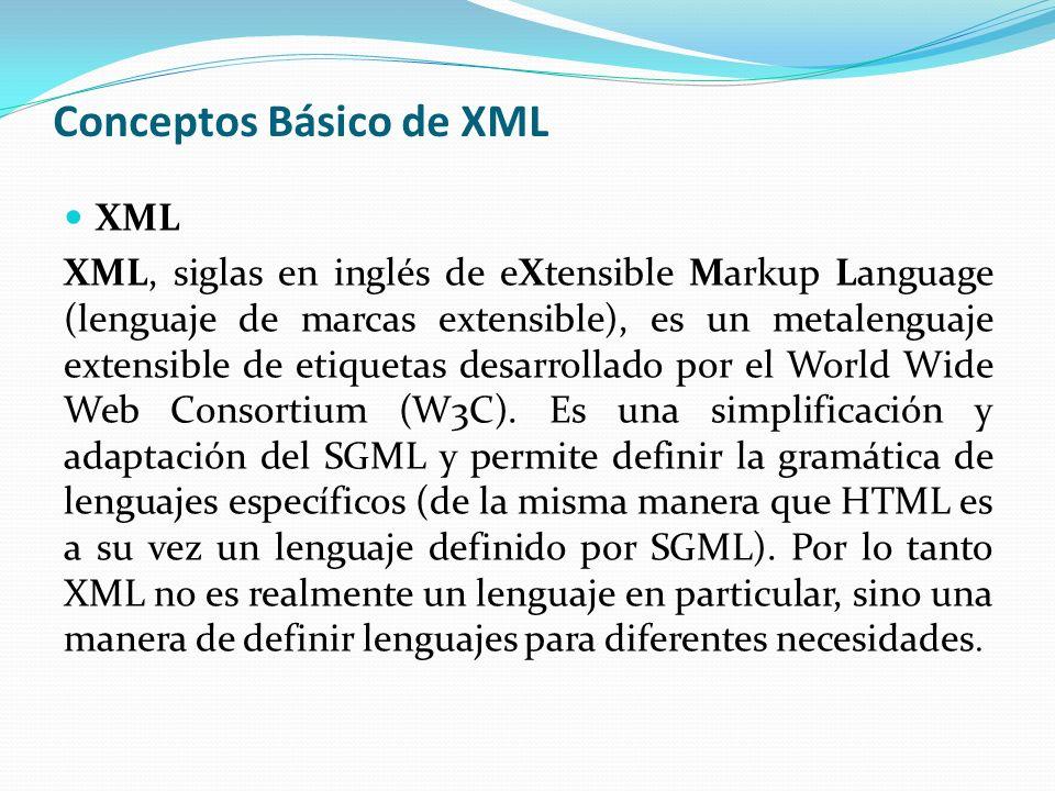 Ventajas de XML Es extensible: Después de diseñado y puesto en producción, es posible extender XML con la adición de nuevas etiquetas, de modo que se pueda continuar utilizando sin complicación alguna.