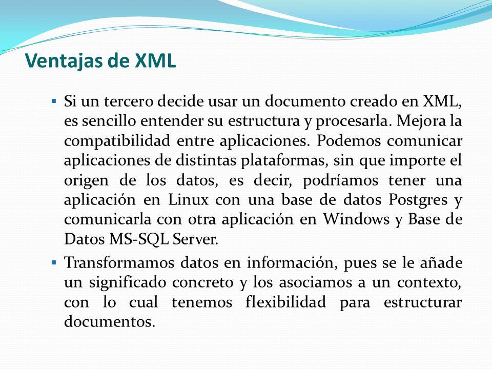 Estructura de un Documento XML La tecnología XML busca dar solución al problema de expresar información estructurada de la manera más abstracta y reutilizable posible.