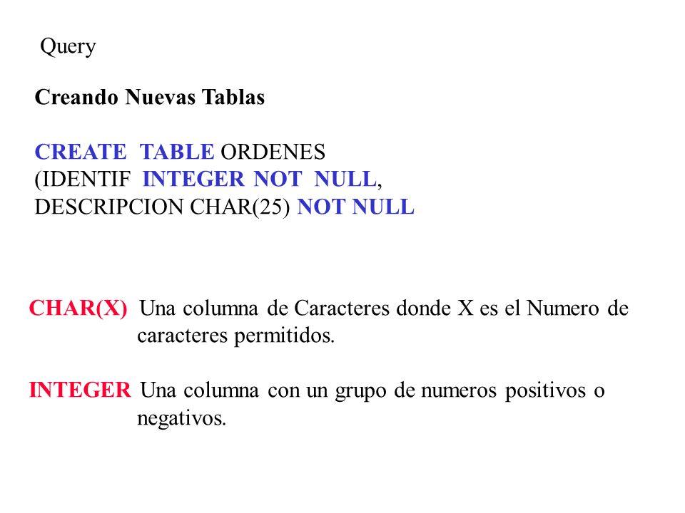 Query Creando Nuevas Tablas CREATE TABLE ORDENES (IDENTIF INTEGER NOT NULL, DESCRIPCION CHAR(25) NOT NULL CHAR(X) Una columna de Caracteres donde X es