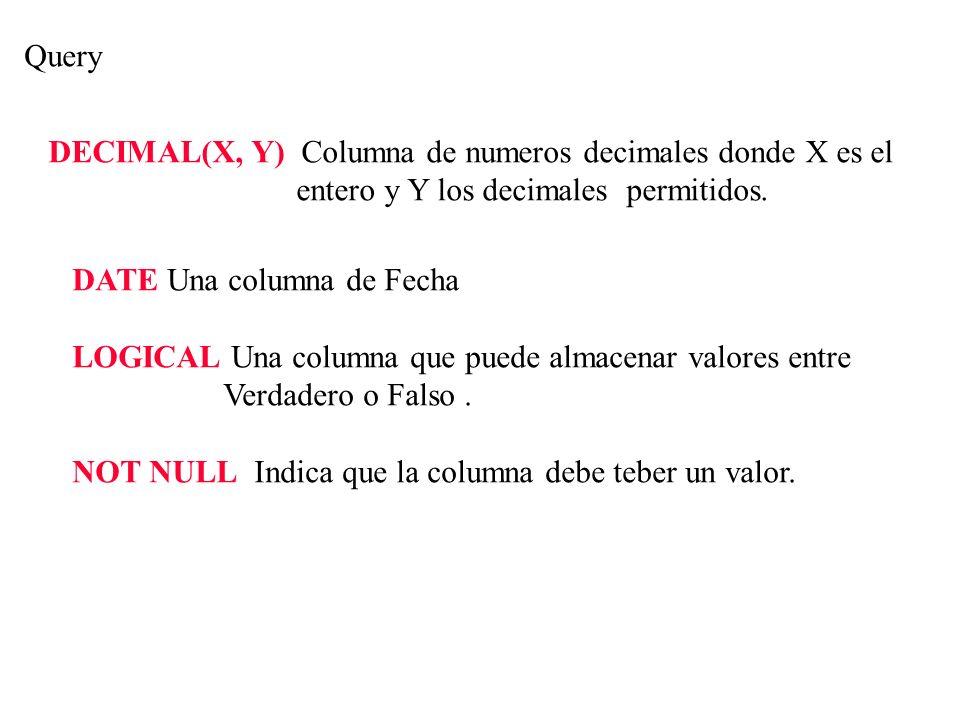 Query DATE Una columna de Fecha LOGICAL Una columna que puede almacenar valores entre Verdadero o Falso. NOT NULL Indica que la columna debe teber un