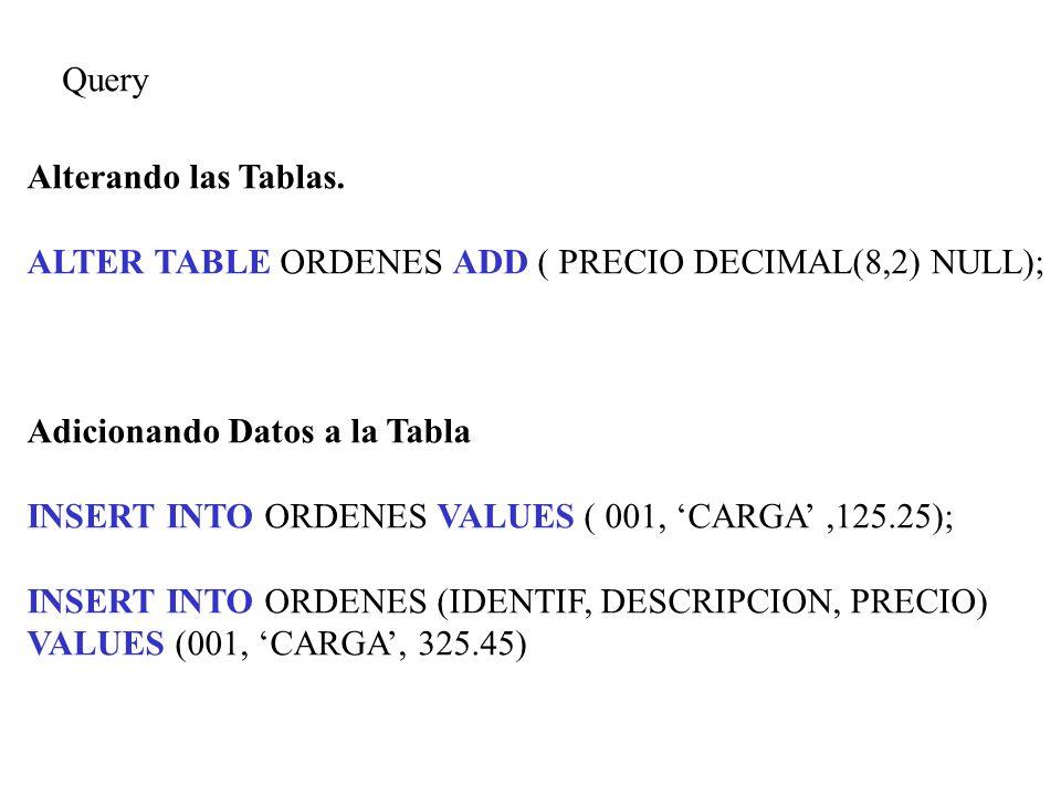 Query Alterando las Tablas. ALTER TABLE ORDENES ADD ( PRECIO DECIMAL(8,2) NULL); Adicionando Datos a la Tabla INSERT INTO ORDENES VALUES ( 001, CARGA,