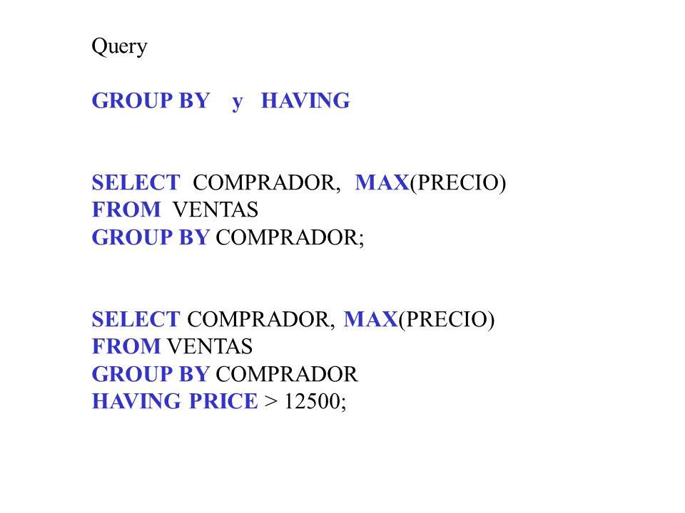 Query GROUP BY y HAVING SELECT COMPRADOR, MAX(PRECIO) FROM VENTAS GROUP BY COMPRADOR; SELECT COMPRADOR, MAX(PRECIO) FROM VENTAS GROUP BY COMPRADOR HAV
