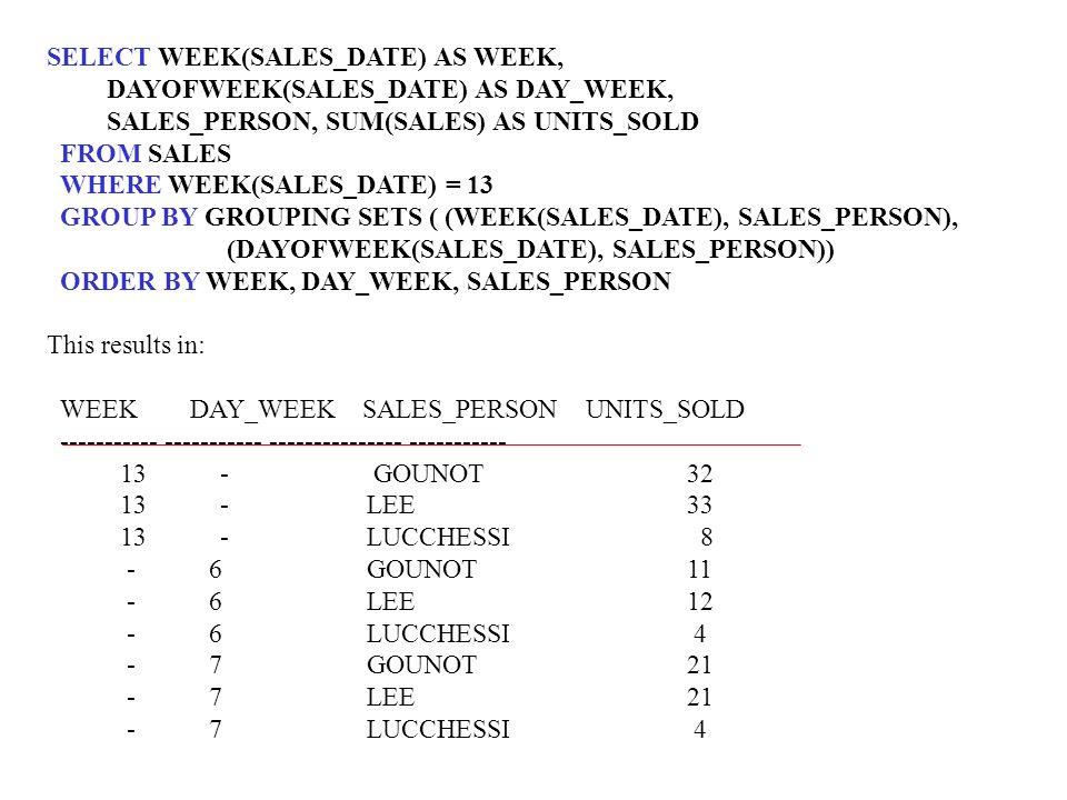 SELECT WEEK(SALES_DATE) AS WEEK, DAYOFWEEK(SALES_DATE) AS DAY_WEEK, SALES_PERSON, SUM(SALES) AS UNITS_SOLD FROM SALES WHERE WEEK(SALES_DATE) = 13 GROU