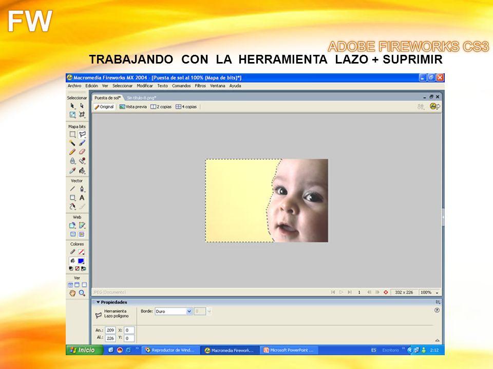 TRABAJANDO CON LA HERRAMIENTA LAZO + SUPRIMIR
