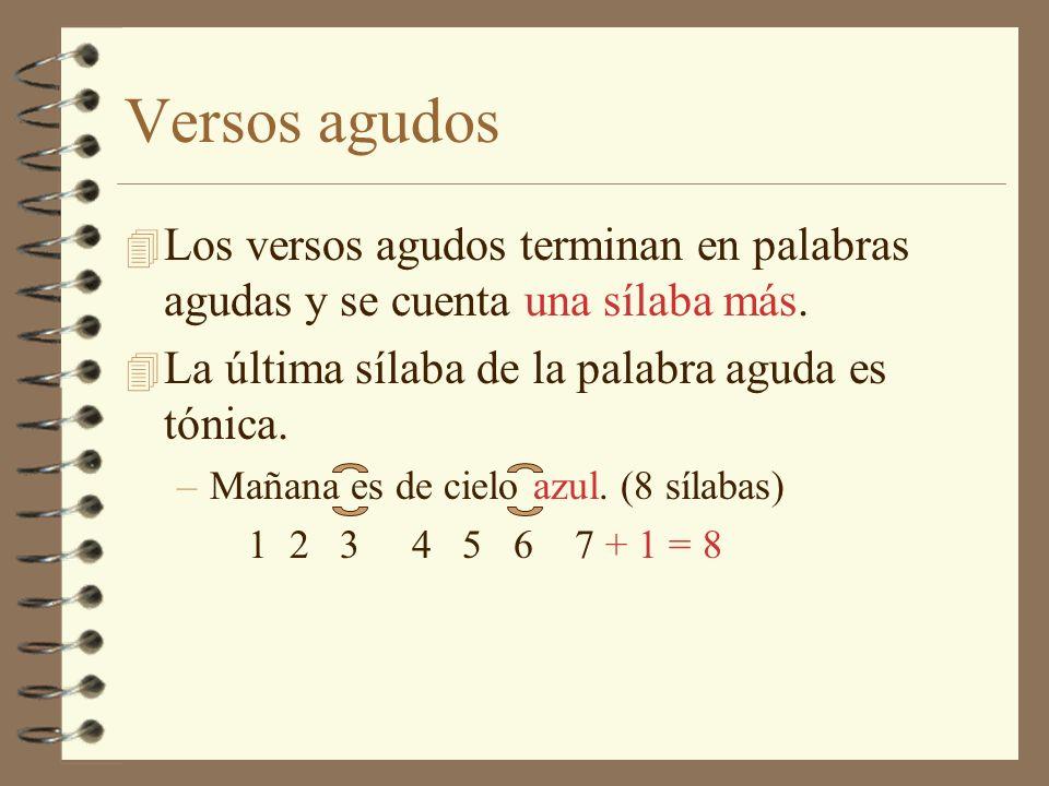 Versos llanos 4 Los versos llanos terminan en palabra llana.