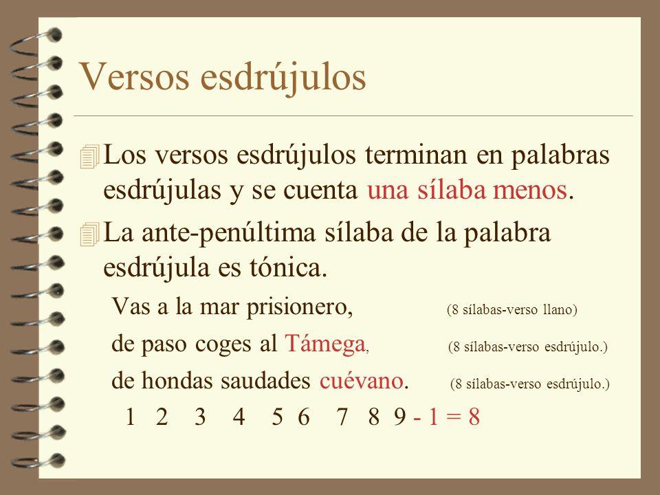 Versos agudos 4 Los versos agudos terminan en palabras agudas y se cuenta una sílaba más.