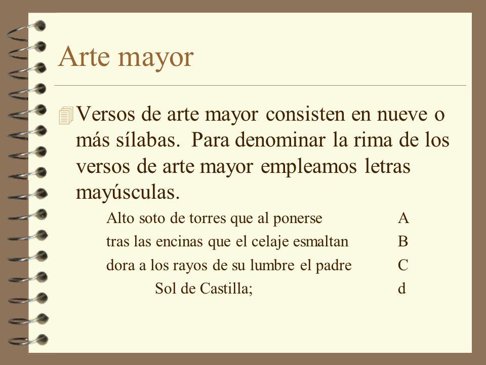 Arte menor 4 Los versos de arte menor tienen 8 o menos sílabas.