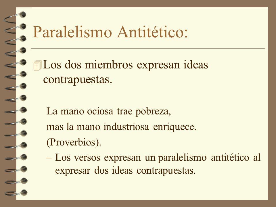 Paralelismo Sinonímico: 4 Los dos miembros repiten la misma idea.