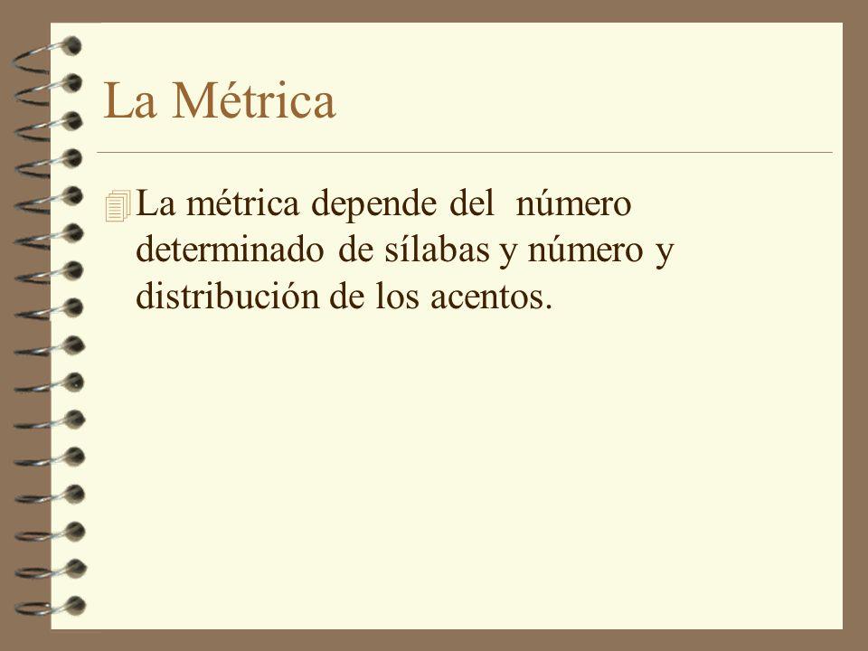 La Métrica 4 La métrica depende del número determinado de sílabas y número y distribución de los acentos.