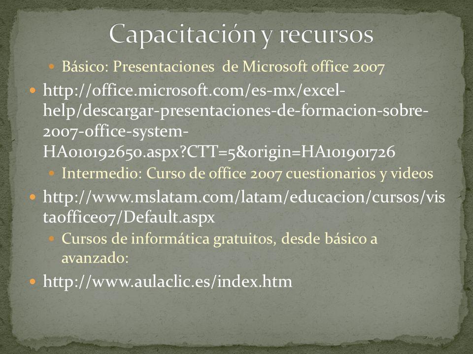 Básico: Presentaciones de Microsoft office 2007 http://office.microsoft.com/es-mx/excel- help/descargar-presentaciones-de-formacion-sobre- 2007-office