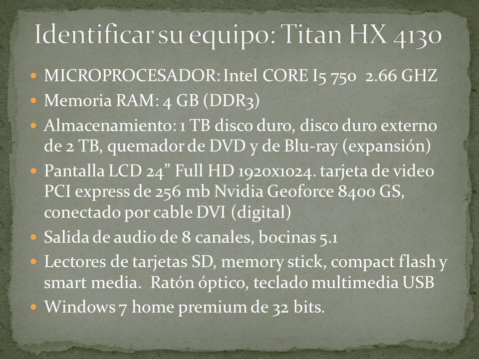 MICROPROCESADOR: Intel CORE I5 750 2.66 GHZ Memoria RAM: 4 GB (DDR3) Almacenamiento: 1 TB disco duro, disco duro externo de 2 TB, quemador de DVD y de