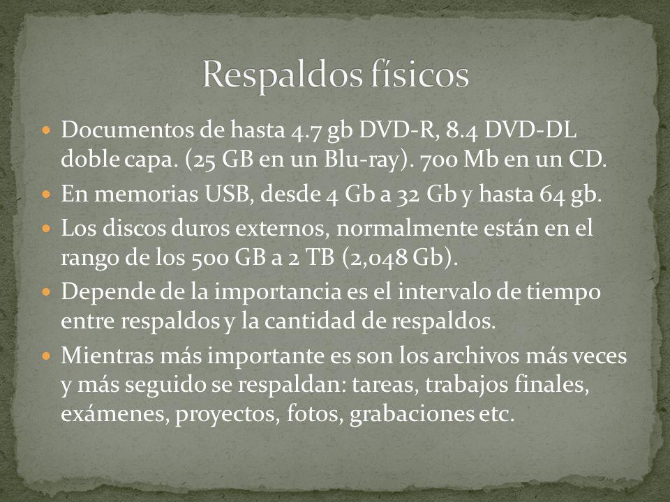 Documentos de hasta 4.7 gb DVD-R, 8.4 DVD-DL doble capa. (25 GB en un Blu-ray). 700 Mb en un CD. En memorias USB, desde 4 Gb a 32 Gb y hasta 64 gb. Lo
