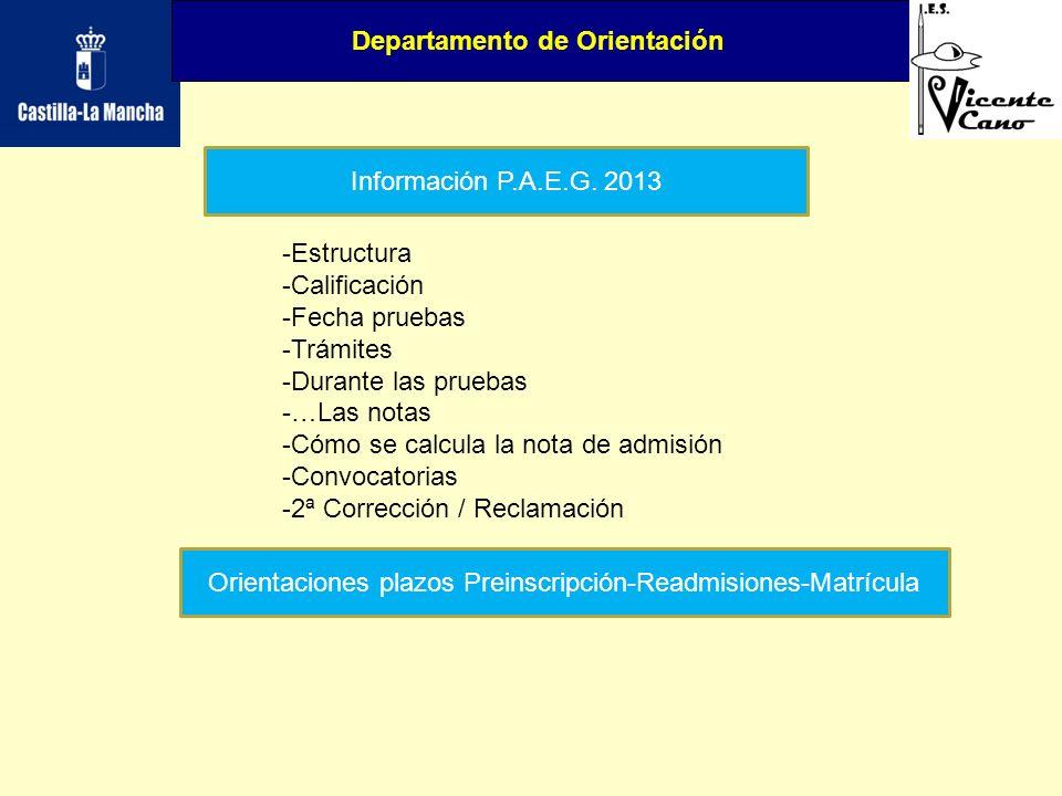 Departamento de Orientación Información P.A.E.G. 2013 -Estructura -Calificación -Fecha pruebas -Trámites -Durante las pruebas -…Las notas -Cómo se cal