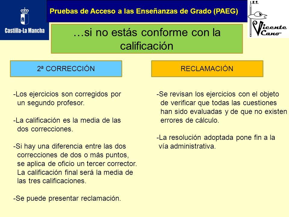 Pruebas de Acceso a las Enseñanzas de Grado (PAEG) …si no estás conforme con la calificación 2ª CORRECCIÓNRECLAMACIÓN -Los ejercicios son corregidos p