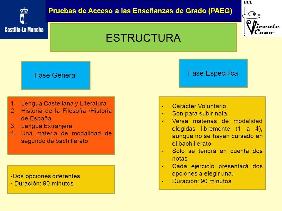 Pruebas de Acceso a las Enseñanzas de Grado (PAEG) CALIFICACIÓN -Cada ejercicio se califica de 0 a 10, con dos cifras decimales.