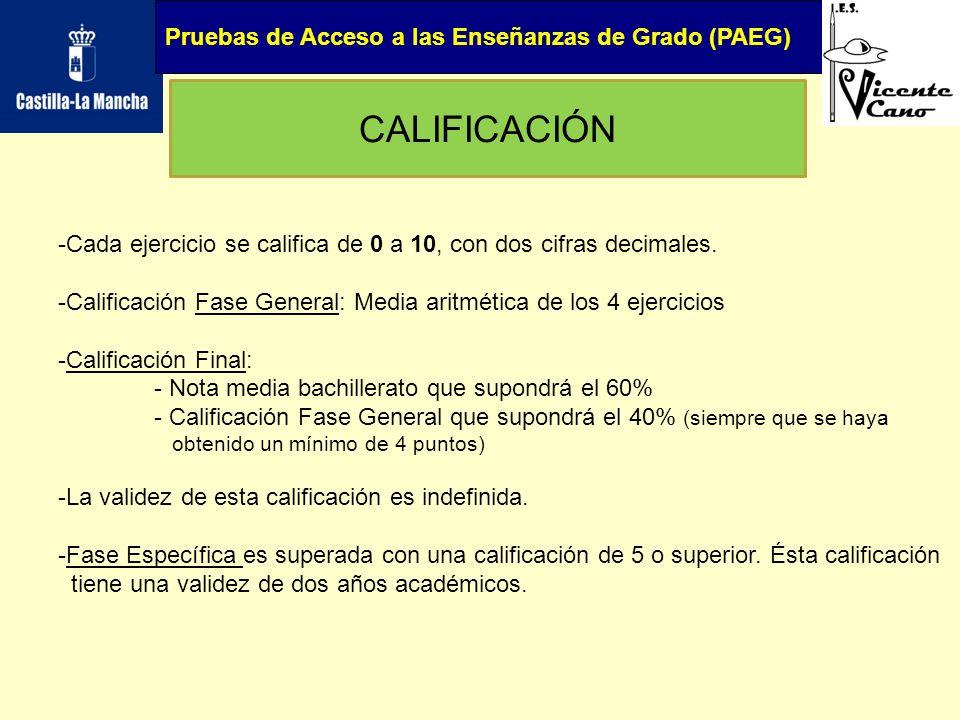 Pruebas de Acceso a las Enseñanzas de Grado (PAEG) CALIFICACIÓN -Cada ejercicio se califica de 0 a 10, con dos cifras decimales. -Calificación Fase Ge