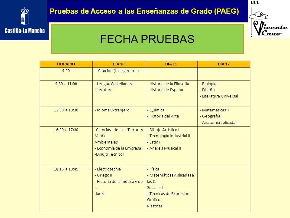 Pruebas de Acceso a las Enseñanzas de Grado (PAEG) FECHA PRUEBAS HORARIODÍA 10DÍA 11DÍA 12 9:00Citación (fase general) 9:30 a 11:00 - Lengua Castellan