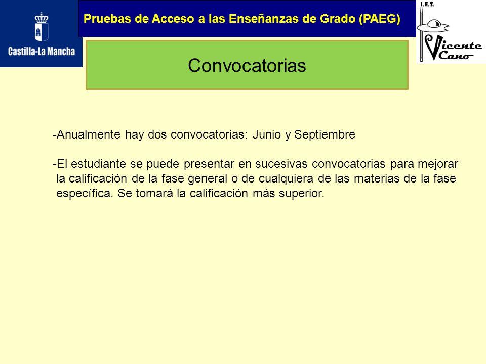 Pruebas de Acceso a las Enseñanzas de Grado (PAEG) Convocatorias -Anualmente hay dos convocatorias: Junio y Septiembre -El estudiante se puede present