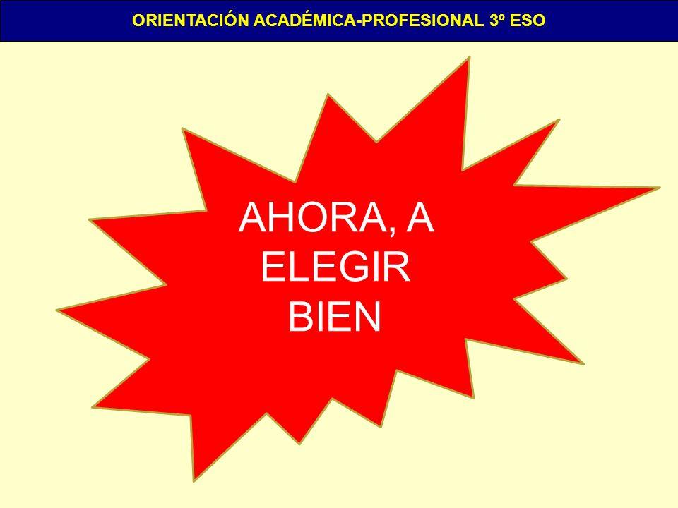 ORIENTACIÓN ACADÉMICA-PROFESIONAL 3º ESO AHORA, A ELEGIR BIEN