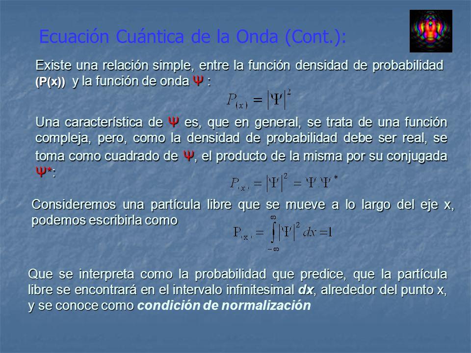 Ecuación Cuántica de la Onda (Cont.): Existe una relación simple, entre la función densidad de probabilidad (P(x)) y la función de onda Ψ : Una caract