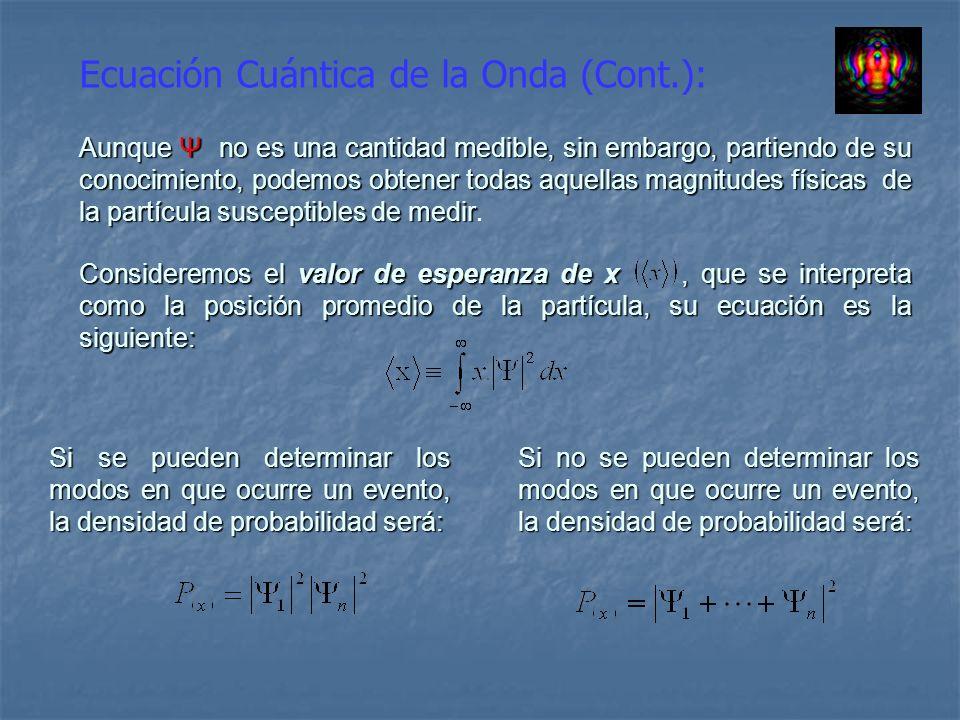 Ecuación Cuántica de la Onda (Cont.): Aunque Ψ no es una cantidad medible, sin embargo, partiendo de su conocimiento, podemos obtener todas aquellas m