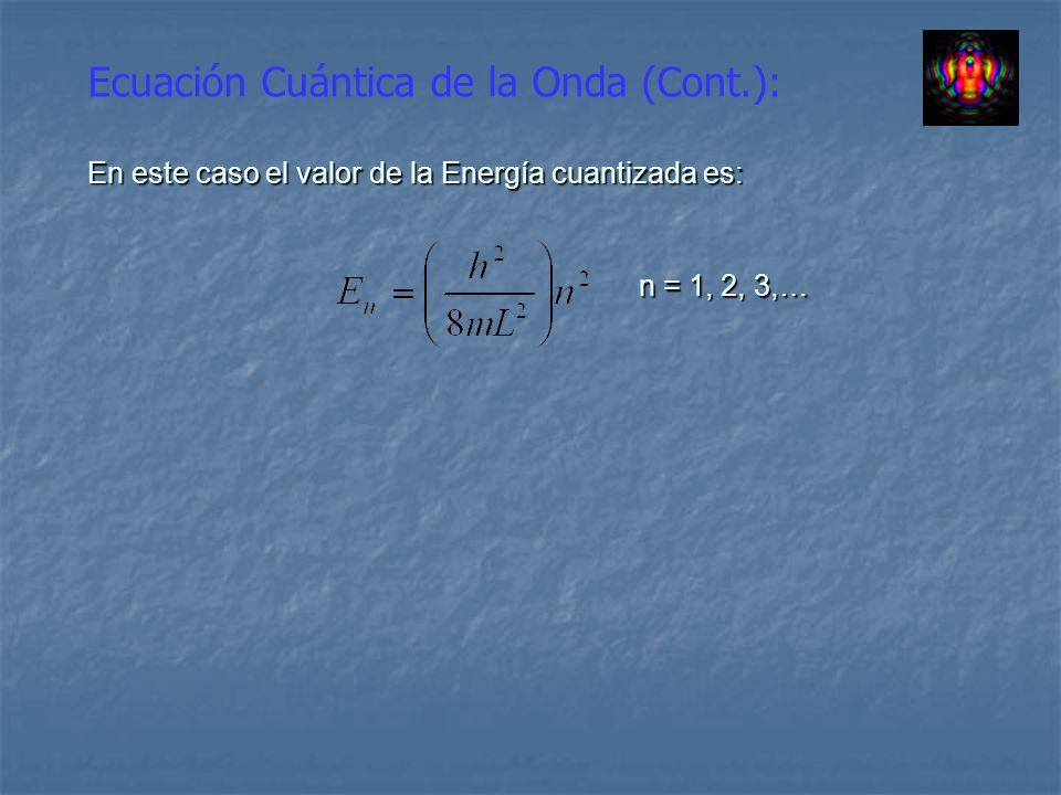 Ecuación Cuántica de la Onda (Cont.): En este caso el valor de la Energía cuantizada es: n = 1, 2, 3,…