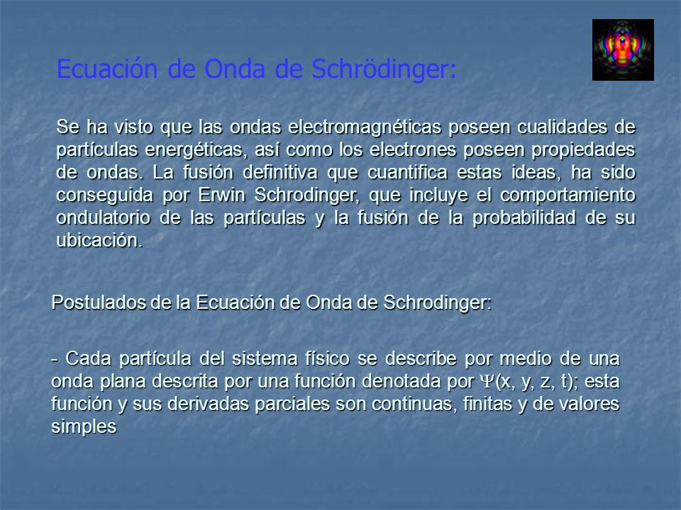 Ecuación de Onda de Schrödinger (Cont.): - Las cantidades clásicas de la energía (E) y del momentum (P), se relacionan con operadores de la mecánica cuántica definida de la siguiente manera.
