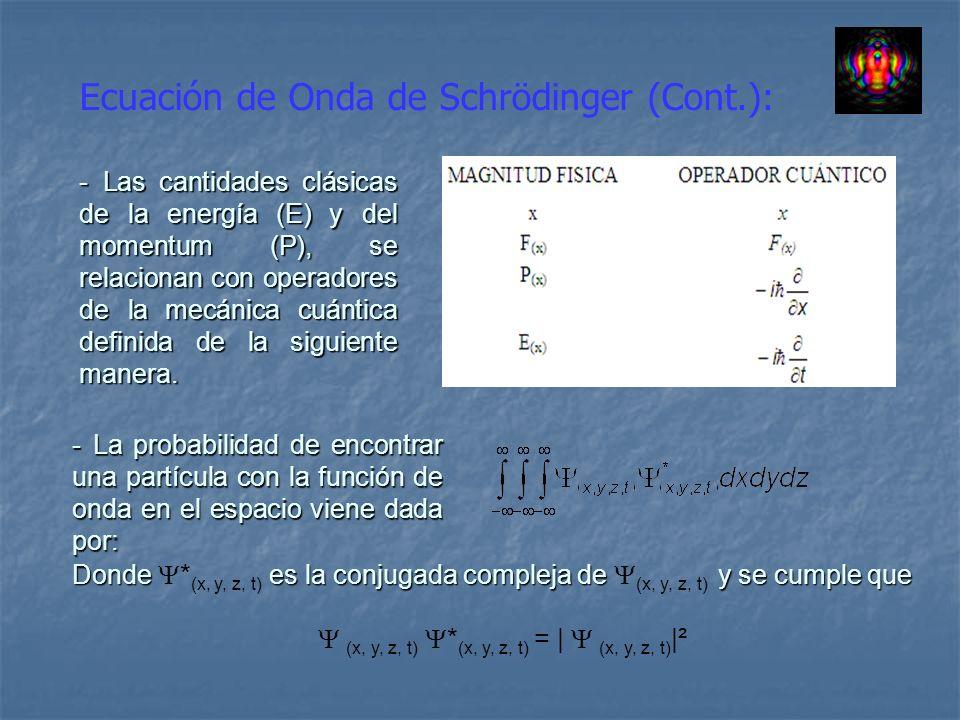 Ecuación de Onda de Schrödinger (Cont.): - Las cantidades clásicas de la energía (E) y del momentum (P), se relacionan con operadores de la mecánica c