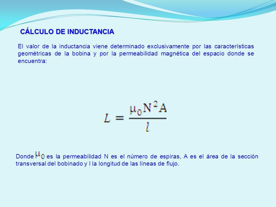 CÁLCULO DE INDUCTANCIA El valor de la inductancia viene determinado exclusivamente por las características geométricas de la bobina y por la permeabil