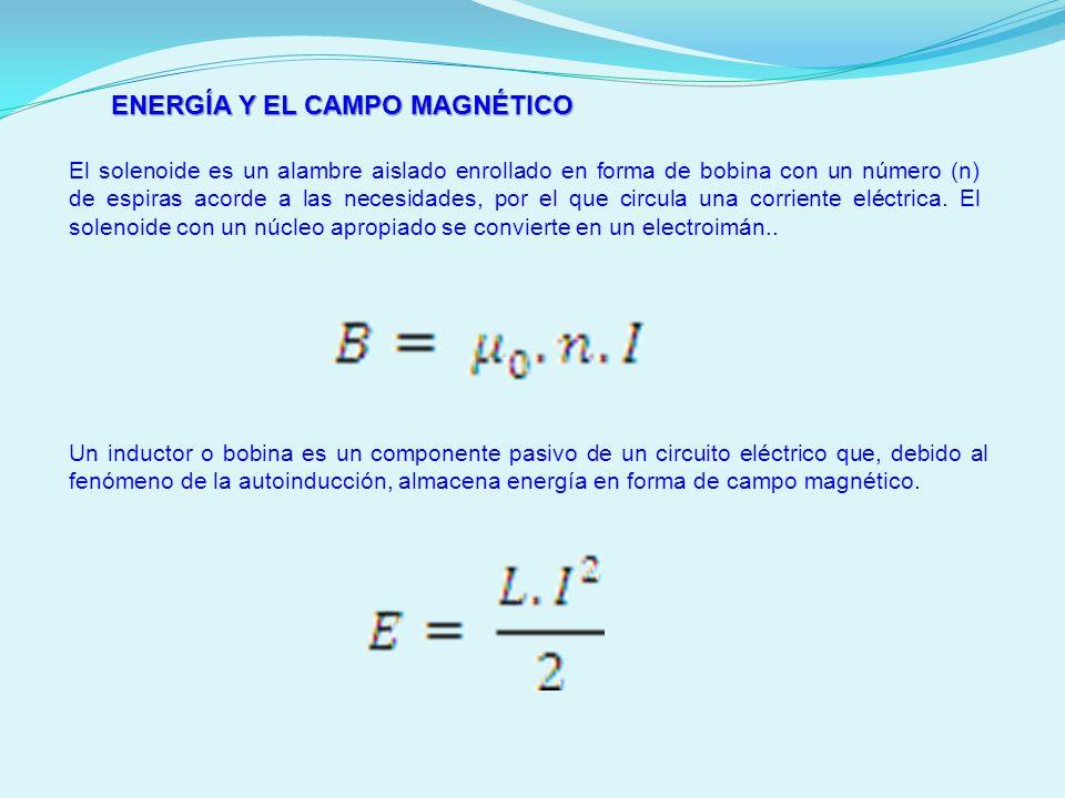 ENERGÍA Y EL CAMPO MAGNÉTICO El solenoide es un alambre aislado enrollado en forma de bobina con un número (n) de espiras acorde a las necesidades, po