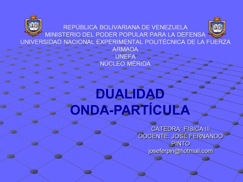 REPÚBLICA BOLIVARIANA DE VENEZUELA MINISTERIO DEL PODER POPULAR PARA LA DEFENSA UNIVERSIDAD NACIONAL EXPERIMENTAL POLITÉCNICA DE LA FUERZA ARMADA UNEF
