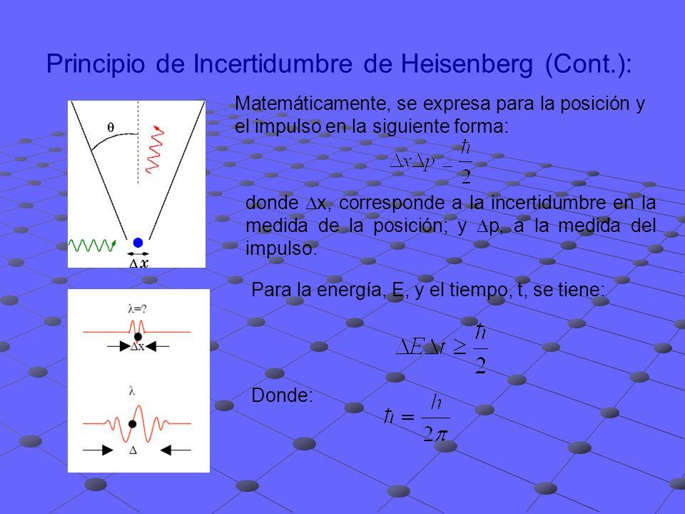 Principio de Incertidumbre de Heisenberg (Cont.): Para la energía, E, y el tiempo, t, se tiene: donde x, corresponde a la incertidumbre en la medida d