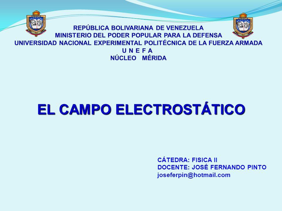 EL CAMPO ELECTROSTÁTICO CÁTEDRA: FISICA II DOCENTE: JOSÉ FERNANDO PINTO joseferpin@hotmail.com