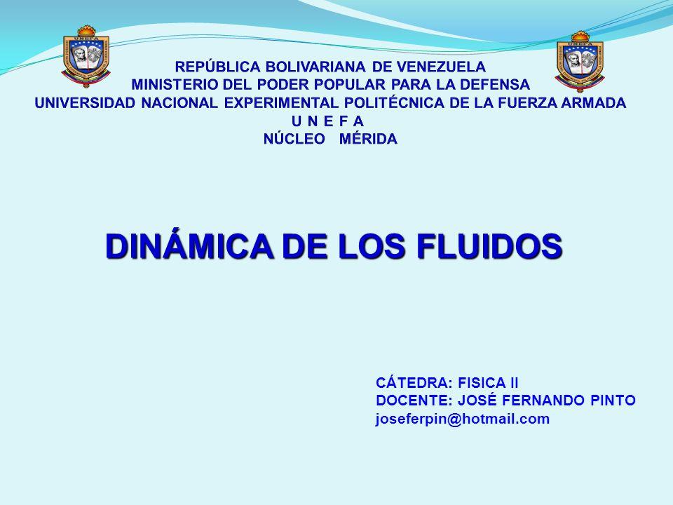 DINÁMICA DE LOS FLUIDOS CÁTEDRA: FISICA II DOCENTE: JOSÉ FERNANDO PINTO joseferpin@hotmail.com