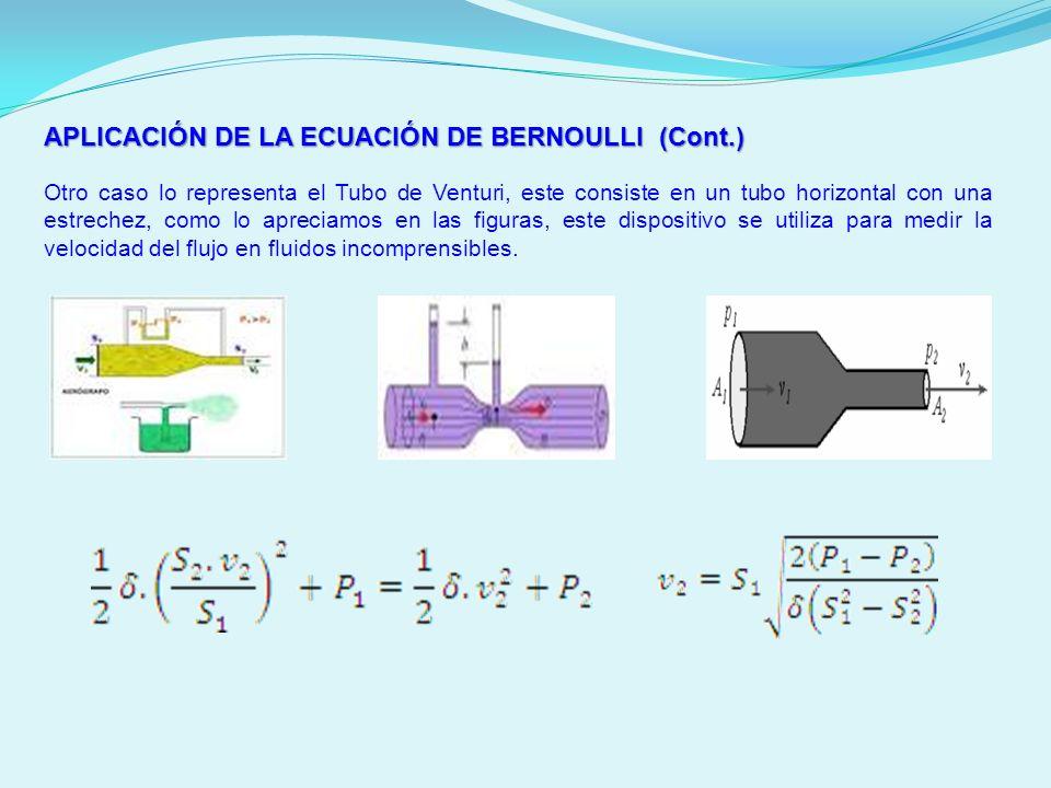 APLICACIÓN DE LA ECUACIÓN DE BERNOULLI (Cont.) Otro caso lo representa el Tubo de Venturi, este consiste en un tubo horizontal con una estrechez, como