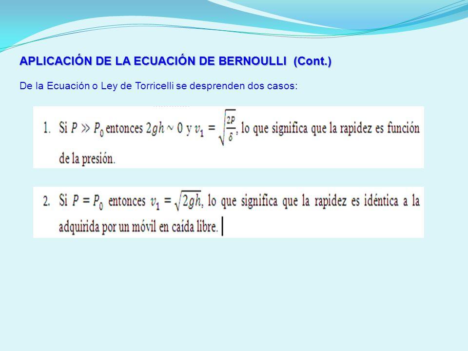 APLICACIÓN DE LA ECUACIÓN DE BERNOULLI (Cont.) De la Ecuación o Ley de Torricelli se desprenden dos casos: