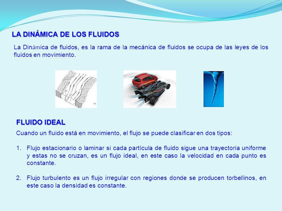 LA DINÁMICA DE LOS FLUIDOS La Din ám ica de fluidos, es la rama de la mecánica de fluidos se ocupa de las leyes de los fluidos en movimiento. FLUIDO I