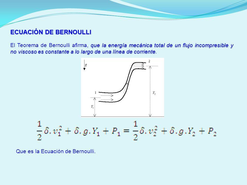 ECUACIÓN DE BERNOULLI que la energía mecánica total de un flujo incompresible y no viscoso es constante a lo largo de una línea de corriente El Teorem