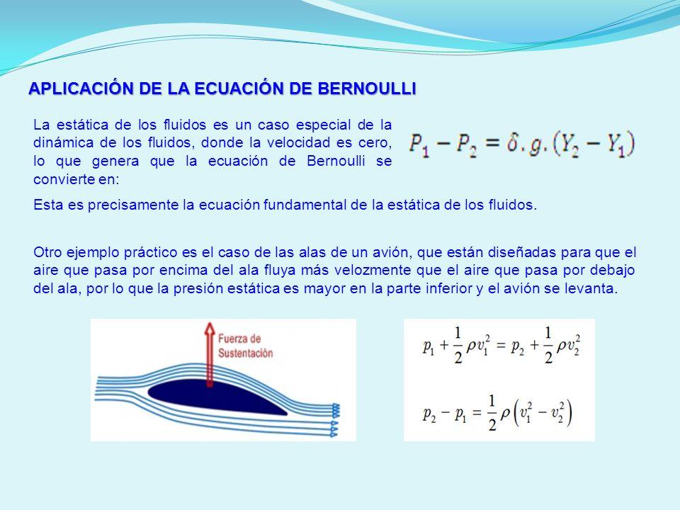 APLICACIÓN DE LA ECUACIÓN DE BERNOULLI La estática de los fluidos es un caso especial de la dinámica de los fluidos, donde la velocidad es cero, lo qu