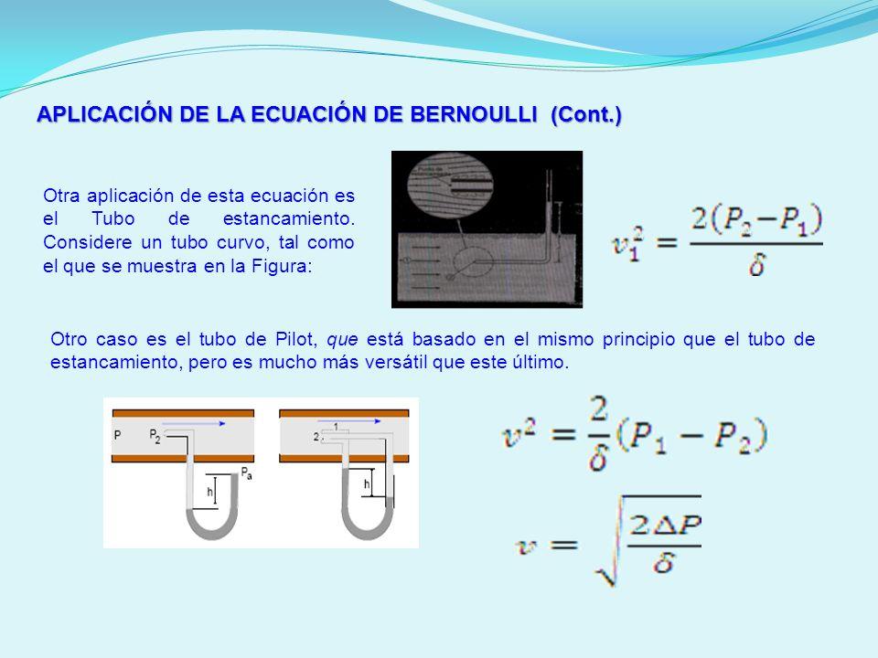 APLICACIÓN DE LA ECUACIÓN DE BERNOULLI (Cont.) Otra aplicación de esta ecuación es el Tubo de estancamiento. Considere un tubo curvo, tal como el que